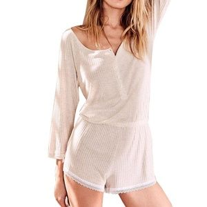 Victoria's Secret Long Sleeve Ribbed Romper NWT